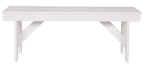 PEGANE Banc Brut de sciage Blanc, H 46 x L 120 x P 30 cm