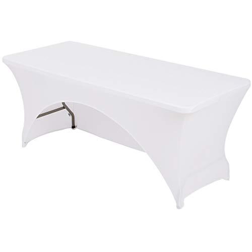 HAORUI Rückenöffnung gewölbt für einfachen Zugang Spandex Stretch Lycra Tischdecke 244 m rechteckig Fit Hochzeit Bankett Trestle Tisch (8ft gewölbt) -
