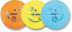 ges, dreiteiliges Wurfscheiben Golf Set sunflex DISC GOLF aus TPE bestehend aus Driver Disc für lange Distanzen, Mid-Range Disc für mittlere und kurze Distanzen, sowie Putter Disc. ()