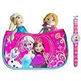 Disney - Frozen / Die Eiskönigin / Handtasche mit Anna und Elsa Plüsch Figuren und Armbanduhr