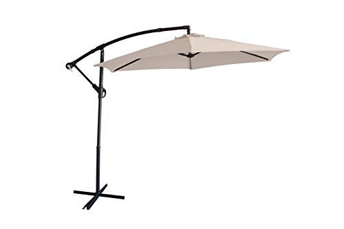 Home Detail Cantilever Hanging Garden Banana Parasol in Range of Sizes & Colours - Ideal for Outdoor Patio & Decking Use as Summer Sun Shade (2.7m, Beige)