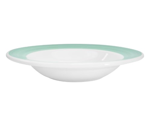 CAC China R-125-GREEN Rainbow Rolled Edge 12-3/4-Inch Green Stoneware Pasta Bowl, 30-Ounce, Box of 12 Rainbow Rolled Edge
