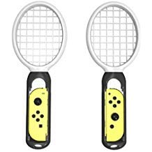 Tennisschläger für Nintendo Switch, BESTeck Twin Pack Tennisschläger für Joy-Con Controller für Mario Tennis Aces Spiel, Griffe für Switch Joy-Cons (2x schwarz) -