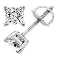 0.75 Carat D/VS1 Princess Certified Diamond Solitaire Stud Earrings in Platinum