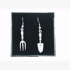 En étain de qualité anglaise Fine Truelle &Boucles d'oreilles en forme de fourche, idée cadeau