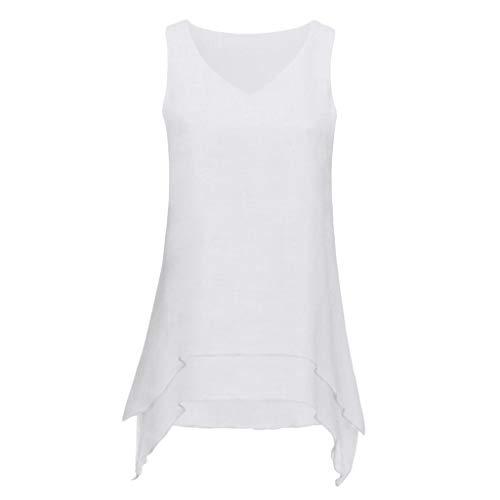 Damen Mode Ärmellose Tops T-Shirt Oberteil,JMETRIC Freizeit Unregelmäßiger Saum Bluse Hemd,O-Neck und V-Neck Stil(Weiß-B,XL)