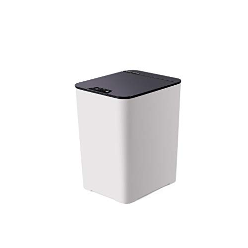 JTWJ Mülleimer Intelligenter Sensor Mülleimer Haushaltsmülleimer (Magisches Pulver/Perlweiß/Klarblau) (Color : Pearl White, Size : 20.5X25.2X36.5CM) (Papierkorb Edelstahl öffnen)