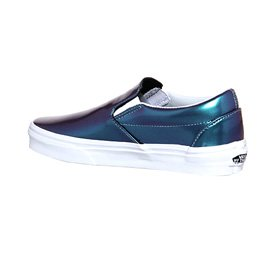 Vans U Classic Slip-on Overwashed, Unisex-Erwachsene Sneakers Patent Leather Blue Iridescent