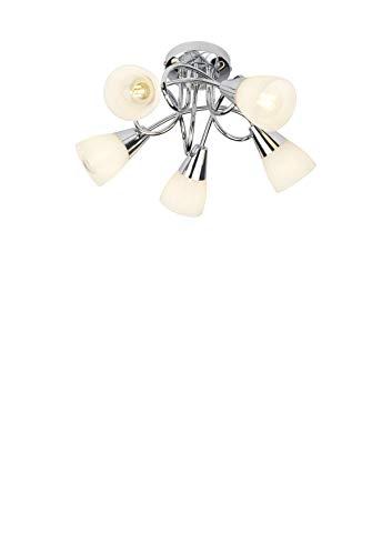 Lighting collection - lampadario tradizionale con 5 bracci attorcigliati e paralumi a imbuto in vetro bianco satinato, cromato