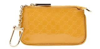 Gucci Shiny Microguccissima Yellow Patent Leather Clip Key Case Wallet 233183