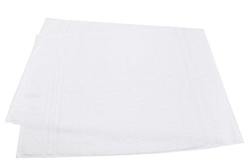 ZOLLNER® Juego de 2 alfombras de baño / alfombrillas blancas / alfombrín de rizo, 50x75 cm, 100% algodón, del especialista en textiles para hostelería y gastronomía, Serie 'Amalfi'