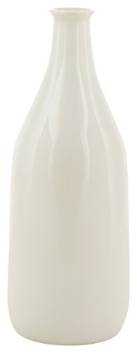 woodenclave Ceramic Bottle Shaped Vase (9.5 cm x 9.5 cm x 26 cm, White)