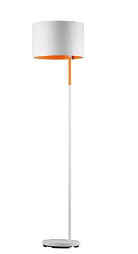 Trio Leuchten Stehleuchte LANDOR, weiß, Stoffschirm weiß/  innen orange 401400101