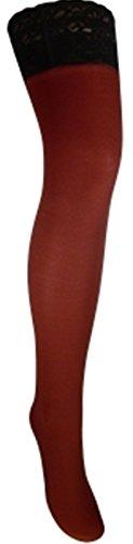 Warme halterlose Strümpfe 100 den blickdicht versch. Spitzenabschlüsse mit Silikonstreifenn (XXL, dunkelrot/bordeaux)