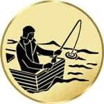 Pokal / Medaille Emblem, Motiv Angeln/Boot, Durchmesser 50 mm, gold