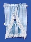 Melody Jane Dolls House Blue Gingham Kitchen Curtains & Valance on Rail Miniature Accessory