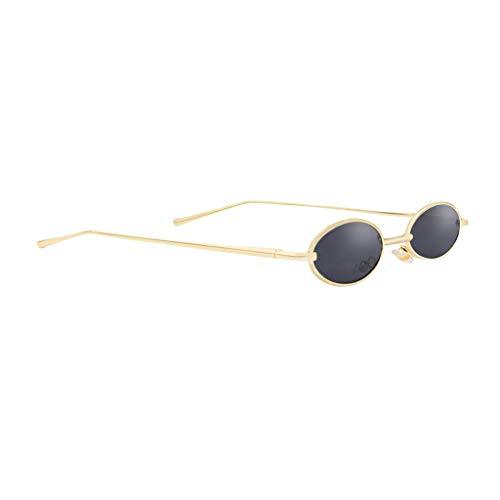 P Prettyia Mode Retro Kleine Ovale Sonnenbrille Metallrahmen Shades Brillen - Schwarze Linse + Goldrahmen