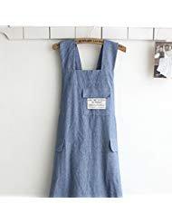 Chef Schürze Geschenk japanischen Stil, X Form Denim Smock Natürliche Baumwolle Schürze Halfter Kreuz Bandage Lätzchen Küche Garten tragen blau - Denim Smock