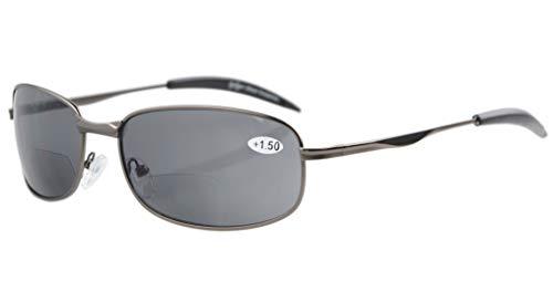 Eyekepper Metallrahmen Fischen Golf Radfahren Fliegen Outdoor Bifokale Sonnenbrille Gunmetal +1.0