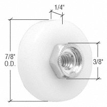 M6003 - CRL 7/8 Nylon Ball Bearing Shower Door Flat Edge Roller With Threaded Hex Hub by C.R. Laurence -