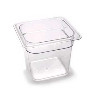 Camwear Food Pan, Plastic, 1/6 Size, 6'' Deep, Polycarbonate, Clear, Nsf (6 Pieces/Unit) by Cambro Camwear Food Pan