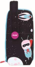 Milan Kit 4 Estuches con Contenido Super Heroes Space 1 Estuches, 22 cm, Rosa