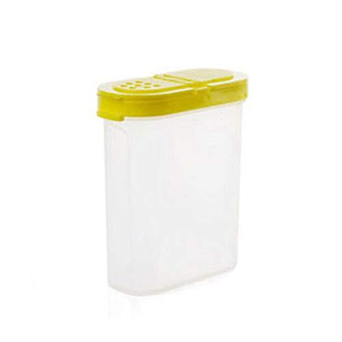 Spice Jars Flaschen, doppelte Deckel Küche Seasoning Box, Salz Zucker Würze Container klar Kunststoff nachfüllbar Lagerung, Rack Shake Oval Oval Spice