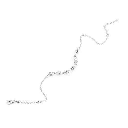 Fußkette mit 7 Glänzende Diamant-Art- und Strand einfache Fußkettchen Schmucksachen für Frauen 2018 Arbeiten Weinlese handgemachte (Silber-) Jasnyfall