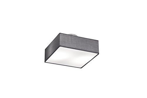 Quadratische Decke Diffusor (Trio Leuchten Deckenleuchte Embassy, nickel matt / stoffschirm grau, 603800287)