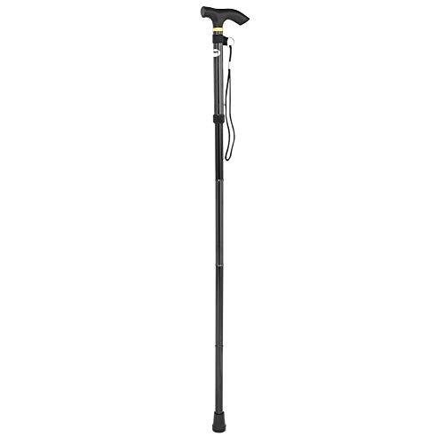 bastón plegable senderismo, bastón trekking de aleación de aluminio ajustable bastones telescópico ligero antideslizante ancianos movilidad bastón de viaje para hombres mujeres(negro)