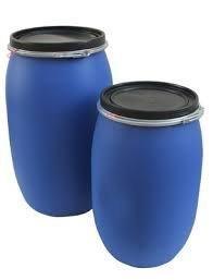 Kunststofffass blau mit Dichtung 120 Liter Spannring und Deckel Sonderangebot! Kunststoff Fass Deckelfass Rundfass Standfass Spundfass