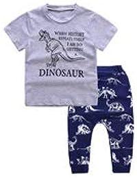 Baby Boys Camiseta de Dinosaurio + Conjunto de Pantalones Cortos, Ropa Casual de Verano, Pantalones Superiores, Trajes para niños pequeños