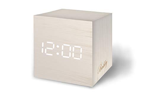 Bashley Reloj Despertador de Madera Luz LED Digital Mini Cubo Minimalista con Fecha y Temperatura Control de Sonido Mesa Despertador para Viajes, Dormitorio de los Niños, Hogar, Oficina-Blanco