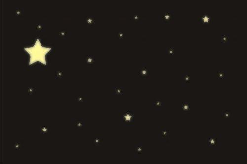 wandfabrik - 100 Leuchtsticker - Sterne - Fluoreszierende Wandsticker - Im Dunkeln leuchtend! (LP-100S)