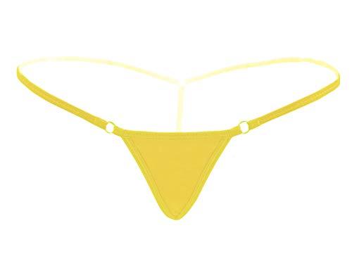 Deargirl Tanga für Damen, T-Rücken, Baumwolle/Spitze, Tanga - Gelb - Mehr Größe -