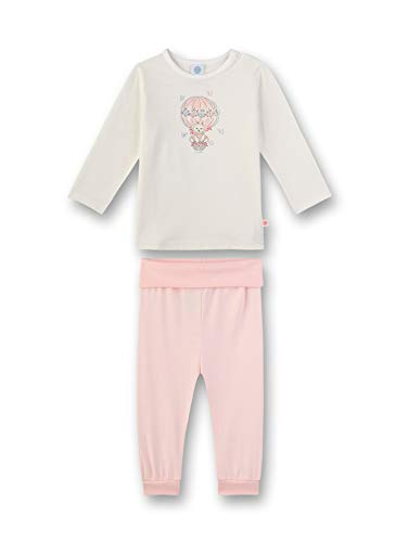 Sanetta Baby-Mädchen Pyjama lang Zweiteiliger Schlafanzug, Beige (beige 1427), 86 (Herstellergröße:086)