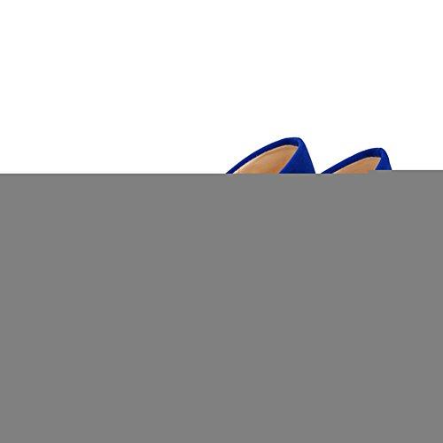 BalaMasa da donna chiuso punta arrotondata e Kitten Heels Solid pompe Royalblue