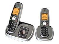 Audioline Matrix 482 Schnurlostelefon mit Anrufbeantworter und Anruferkennung (LED-Display) schwarz/silber