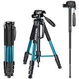 Neewer 10090794, Treppiede monopiede portatile in lega di alluminio con testa pan girevole a 3 vie, borsa da transporto per fotocamera e video camcorder, Blu (blue), 177 cm