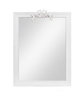 Specchiera di legno bianca con fregio centrale stile vintage L'ARTE DI NACCHI AD-208