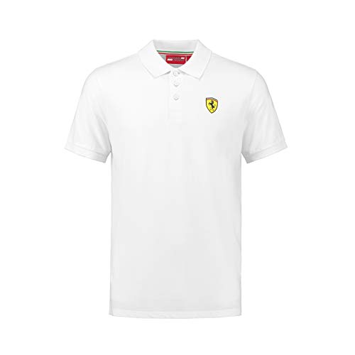 Ferrari 2018 Scuderia Herren Poloshirt, klassischer Stil, Baumwoll-Piqué, Größen XS-XL, weiß, (S) 37 Inch Chest/EU 44-46