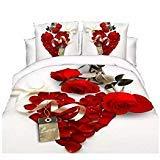 3D Hot Weiß Rot Rose Bettwäsche-Set Diamanten Bettbezug Doppelbett Bettlaken Kissenbezüge -