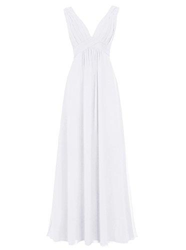 Dresstells Damen Bodenlang Chiffon Promi-Kleider V-Ausschnitt Ärmellose Abendkleider Weiß