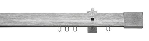tilldekor Rail à Voie intérieure Inline, carré, Aluminium, 200 cm, 1-Voie, Couleur INOX brossé