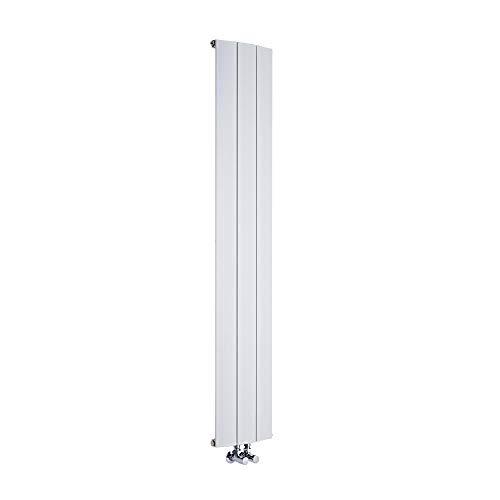Hudson Reed Radiador de Diseño Vertical con Conexión Central - Aluminio - Blanco - 1600mm x 280mm x 45mm - 1021 Vatios - Aurora