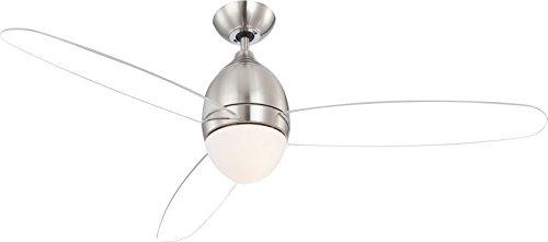 Deckenventilator mit Beleuchtung und Fernbedienung 3 Stufen Flügel transparent (Deckenbeleuchtung mit Ventilator, Deckenleuchte 2 flammig, Decken Licht, Deckenlampe, 132 cm, Rechts-Links-Lauf)