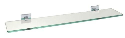 WENKO 17979100 Power-Loc Satin Wandablage San Remo - Befestigen ohne bohren, Messing, 60 x 5 x 13.5 cm, Chrom