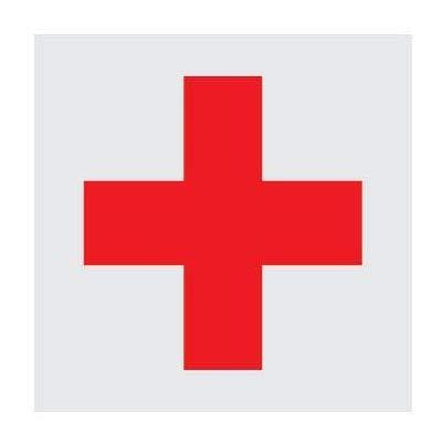 OTA Aufkleber rotes Kreuz Medizinischer Notfall rot auf weiß Krankenhaus-Ambulanz-Größe 10,2 x 10,2 cm Militär Soldat Sicherheit Helm Gepäck Motorrad -
