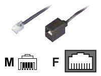 dadusto de eléctrico Reductor de adaptador de RJ11(6P4C) a RJ45(8P4C) hembra, cable: 4conductores, plano y negro, 0,15m