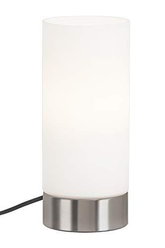 Briloner Leuchten - Tischleuchte, Schnurschalter 1.6M Kabel, Tischlampe E14 max. 40 Watt, Weißer Glasschirm, Matt-Nickel, 24 x 10 cm (Hxd) - Glasschirm Tischlampe